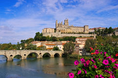 Cathedral and  the River Orb in Beziers, France Stock Photography