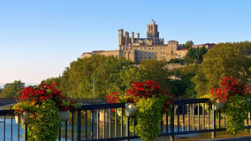 Cathedral and  the River Orb in Beziers, France Stock Photos