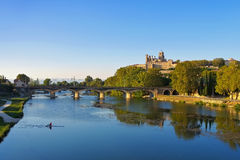Cathedral and  the River Orb in Beziers, France Royalty Free Stock Photography