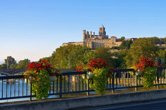 Cathedral and  the River Orb in Beziers, France Royalty Free Stock Image