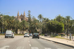 Cathedral, Road. Sunny day Cathedral, Road, Palma, Majorca Royalty Free Stock Photo