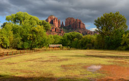 Cathedral rock energy vortex in sedona after a rainstorm Royalty Free Stock Images
