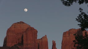 Cathedral Rock Full Moon Zoom Out stock video