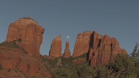 Cathedral Rock Full Moon Zoom In Royalty Free Stock Photos