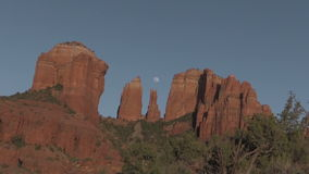 Cathedral Rock Full Moon Zoom In stock video
