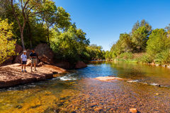 Cathedral Rock Hiking. Sedona, AZ USA - October 18, 2016: Cathedral Rock in the Coconino National Forest with its natural sandstone rock formations is a popular Royalty Free Stock Photo