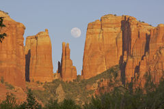 Cathedral Rock and Moon Royalty Free Stock Images