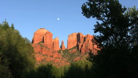 Cathedral Rock Moon stock footage