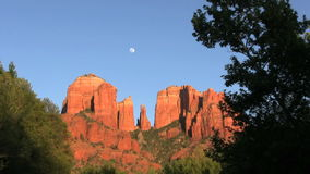 Cathedral Rock and Moon Stock Image
