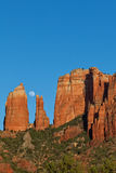 Cathedral Rock and Moon Stock Photography