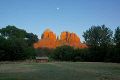 Cathedral Rock and Moon Stock Photo
