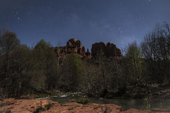 Cathedral Rock moonlight Stock Image