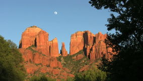 Cathedral Rock Moonrise stock video footage