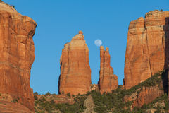 Cathedral Rock Moonrise Royalty Free Stock Images