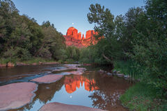 Cathedral Rock Moonrise Reflection Stock Images