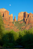 Cathedral Rock Moonrise Scenic Stock Image