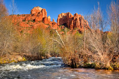 Cathedral Rock and Oak Creek, Sedona, Arizona Stock Photo