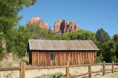 Cathedral Rock and Old Cabin. Cathedral Rock at Red Rock Crossing, Sedona, AZ with old cabin in foreground Royalty Free Stock Photography