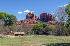 Cathedral Rock Over The Old Mill At Crecent Moon Picnic Area In Stock Photos