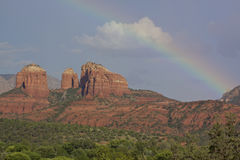 Cathedral Rock Rainbow Stock Image