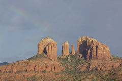 Cathedral Rock and Rainbow Stock Photo
