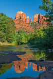 Cathedral Rock Reflected in Creek Stock Photo