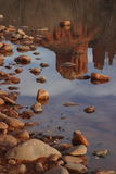 Cathedral Rock Reflection. In Oak Creek - Crescent Moon Ranch stock photography