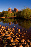 Cathedral Rock Reflection. The still waters of Oak Creek reflect the edifices of Cathedral Rock at Red Rock Crossing near Sedona, Arizona Stock Photography