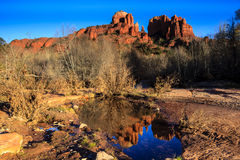 Cathedral Rock With Reflection Stock Photography