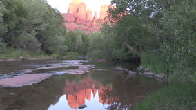 Cathedral Rock Reflection with Moon stock footage