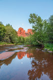 Cathedral Rock Reflection and Moonrise Stock Photos