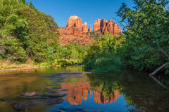 Cathedral Rock Reflection, Sedona Arizona Stock Photo