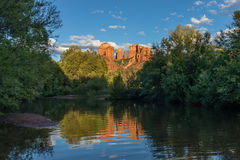 Cathedral Rock Reflection at Sunset Royalty Free Stock Image