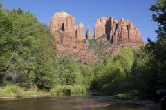 Cathedral Rock, Sedona Arizona. A scenic view of cathedral rock at red rock crossing near sedona arizona Stock Photos