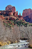 Cathedral Rock Sedona AZ. A view of Cathedral Rock, a red rock sandstone formation in the desert near Sedona, Arizona (USA Stock Photo