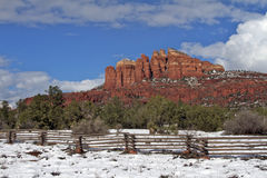 Cathedral Rock Snow. A scenic snow covered landscape at cathedral rock near sedona arizona in winter Stock Images
