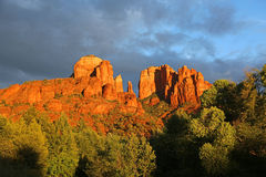 Cathedral Rock at sunset Royalty Free Stock Photography