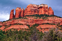 Cathedral Rock viewed from the Back O` Beyond Trail Head Stock Photo