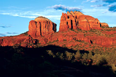 Cathedral Rock Viewed from the upper Baldwin Loop near Sunset. A view of Sedona`s Cathedral Rock from the upper Baldwin Loop Trail near sunset. This trail is Royalty Free Stock Photos