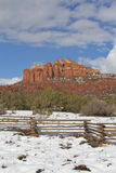Cathedral Rock Winter. A scenic snow covered landscape at cathedral rock near sedona arizona in winter Stock Photo