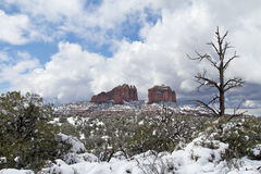 Cathedral Rock in Winter Stock Images