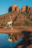 Cathedral Rock Yoga Practice Stock Photo