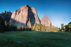 Cathedral Rocks and Cathedral Spires are a prominent collection of cliffs, buttresses and pinnacles located on Yosemite Valley. Cathedral Rocks and Cathedral royalty free stock photos