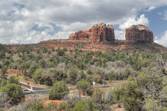 Cathedral Rocks by the Road Stock Images
