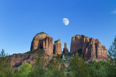 Cathedral Rocks at Sunset with Moon Royalty Free Stock Images
