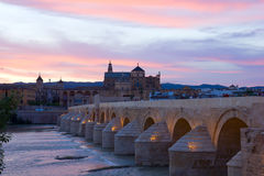Cathedral and roman bridge, Cordoba, Spain Royalty Free Stock Image
