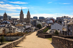 Cathedral and Roman wall of Lugo. Spain Royalty Free Stock Photo
