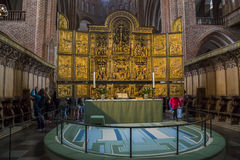 Cathedral in Roskilde, Denmark. ROSKILDE, DENMARK - JUNE 26, 2016: This is altar of the cathedral in Roskilde - Denmark main cathedral, the tomb of Danish kings Royalty Free Stock Photos