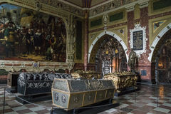 Cathedral in Roskilde, Denmark. ROSKILDE, DENMARK - JUNE 29, 2016: This is the interior of the royal tombs in the chapel of Christian IV Stock Photography