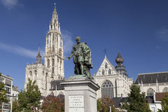 Cathedral and Rubens Monument in Antwerp Stock Photo